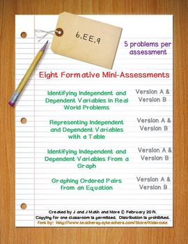 6th Grade Math:  6.EE.9 Mini-Assessments