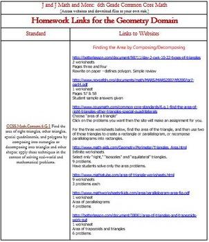6th Grade Math: 6.G.1-6.G.4:  Internet Links to Free Geometry Homework
