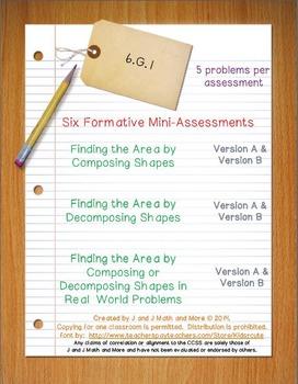 6th Grade Math:  6.G.1 Mini-Assessments