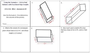 6th Grade Math:  6.G.2 Mini-Assessments