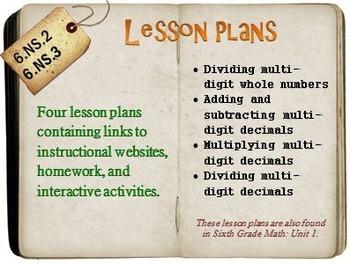 6th Grade Math:  6.NS.2 & 6.NS.3:  Four Lesson Plans