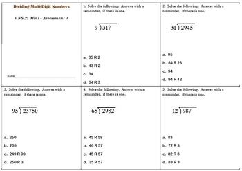 6th Grade Math:  6.NS.2 Mini-Assessments