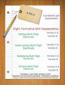 6th Grade Math:  6.NS.3 Mini-Assessments