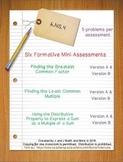 6th Grade Math:  6.NS.4 Mini-Assessments
