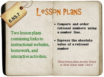 6th Grade Math:  6.NS.7:  Two Lesson Plans