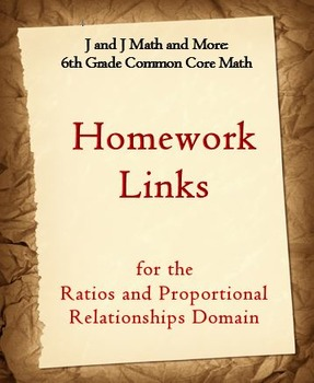 6th Grade Math: 6.RP.1-6.RP.3d:Internet Links to Ratios & Proportions Homework
