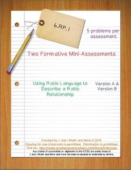 6th Grade Math:  6.RP.1 Mini-Assessments
