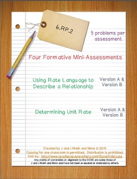 6th Grade Math:  6.RP.2 Mini-Assessments