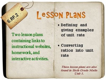 6th Grade Math:  6.RP.2:  Two Lesson Plans