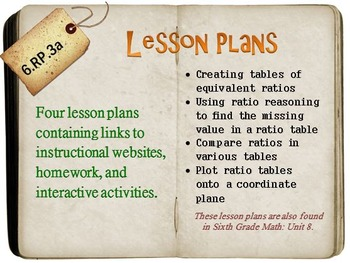 6th Grade Math:  6.RP.3a:  Four Lesson Plans