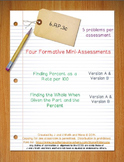 6th Grade Math:  6.RP.3c Mini-Assessments