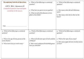 6th Grade Math:  6.SP.1 Mini-Assessments