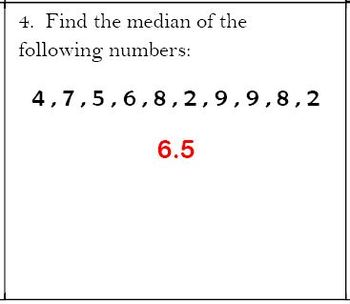 6th Grade Math:  6.SP.2 & 6.SP.5c Mini-Assessments