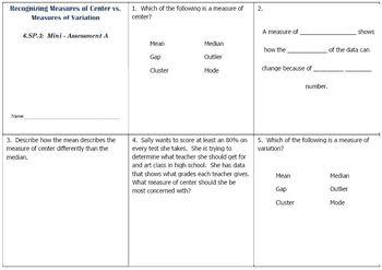 6th Grade Math:  6.SP.3 Mini-Assessments