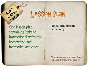 6th Grade Math:  6.SP.5, 6.SP.5a & 6.SP.5b:  One Lesson Plan