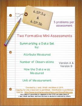 6th Grade Math:  6.SP.5a & 6.SP.5b Mini-Assessments