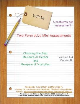 6th Grade Math:  6.SP.5d Mini-Assessments