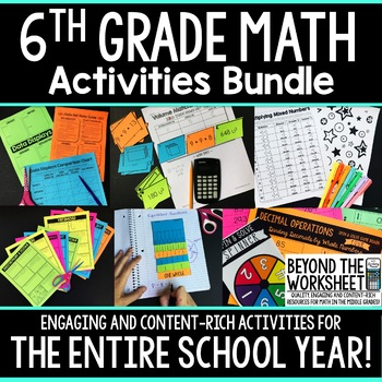 6th Grade Math Activities Bundle : Supplemental Curriculum Resources