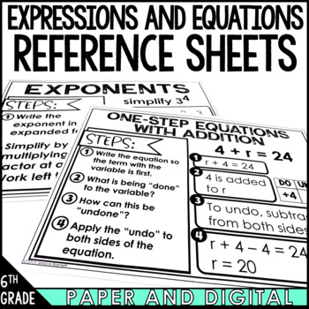 6th Grade Math Anchor Charts: Expressions and Equations Bundle