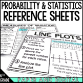 6th Grade Math Anchor Chart Reference Sheets: Statistics and Probability