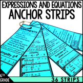 6th Grade Math Anchor Strips: Expressions and Equations