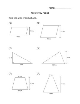 6th Grade Math Area Review Packet