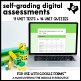 6th Grade Math Assessments for Google Forms (TEKS-Aligned)