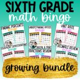 6th Grade Math BINGO - Growing Bundle - NO PREP - Digital & Print Games