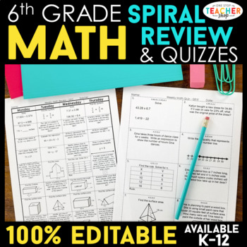 6th Grade Math BUNDLE | Spiral Review, Games & Assessments for the ENTIRE YEAR