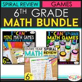 6th Grade Math BUNDLE   Spiral Review, Games & Assessments