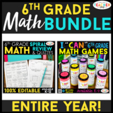 6th Grade Math BUNDLE | Spiral Review, Games & Quizzes for the ENTIRE YEAR