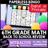 6th Grade Math Back to School Review Interactive Bingo Review Game