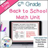 6th Grade Math Back to School Unit
