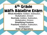 6th Grade Math Baseline Exam