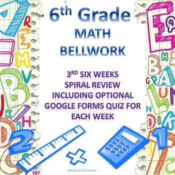 6th Grade Math Bellwork 3rd Six Weeks