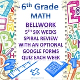 6th Grade Math Bellwork 5th Six Weeks