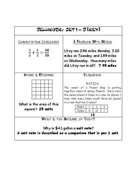 6th Grade Math Bellwork/ bell ringers Set 1