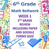 6th Grade Math Bellwork Week 1