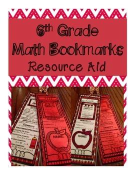 6th Grade Math Bookmark - Resource & Fact Aid