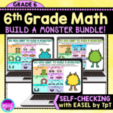 6th Grade Math Build a Monster Activities for Distance Lea