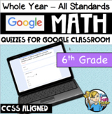 6th Grade Math CCSS - Google Forms / Classroom - QUIZZES FOR EACH STANDARD!