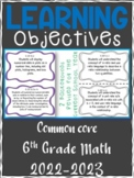 6th Grade Math COMMON CORE Learning Objective Cards | Color and B&W