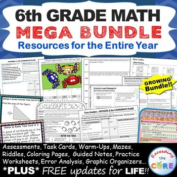 6th Grade Math COMMON CORE Assessments, Warm-Ups, Task Cards, Worksheets
