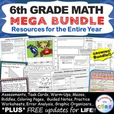 6th Grade Math COMMON CORE Assessments, Warm-Ups, Task Cards, Worksheets BUNDLE