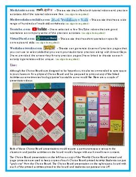 6th Grade Math Choice Board #1