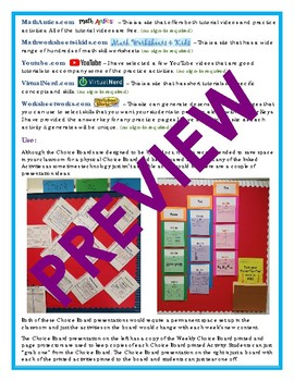6th Grade Math Choice Board #9