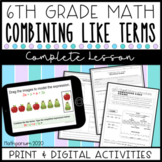 Combining Like Terms Complete Lesson (Distance Learning)