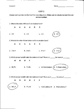 6th Grade Math Common Core Aligned Assessments  (Ratios and Proportions RP.1-3)