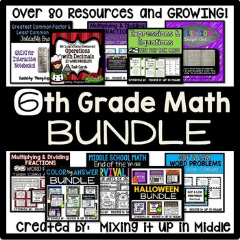 6th Grade Math Curriculum YEAR LONG BUNDLE--Over 80 Resources!