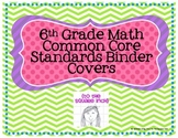 6th Grade Math Common Core Binder Covers